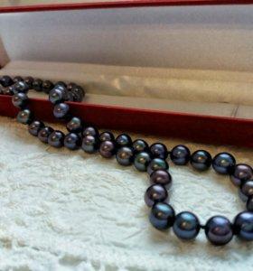 Прекрасное ожерелье бусы натуральный черный жемчуг