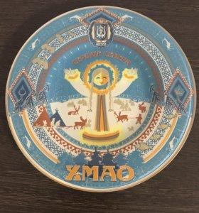 Стеклянная тарелка,сувенир,на стену
