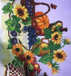 Картина вышитая бисером «Осенний натюрморт»