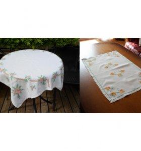 5 винтажных скатертей с вышивкой ручной работы