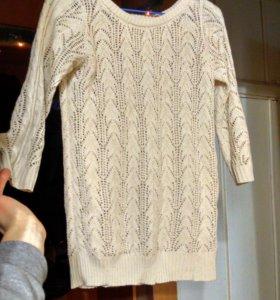 свитер ажурной вязки, летняя блузка, юбка