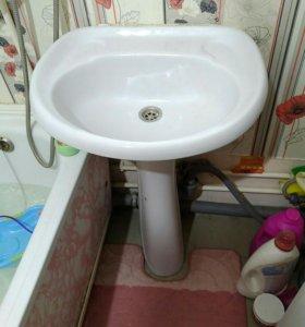 Ванна + раковина с пьедесталом б/у