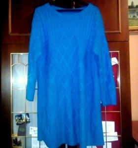 Вязаное теплое 54-56,+,- платье