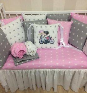 Бортики в кроватку на заказ, одеяла, коконы.