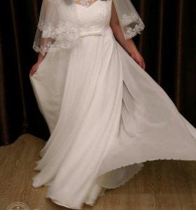 Свадебное платье+накидка