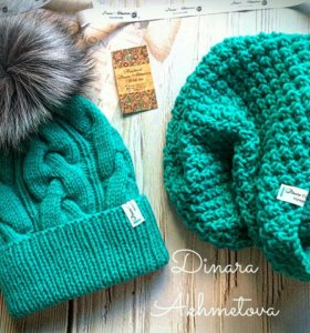 Зимняя шапочка с помпоном и снуд