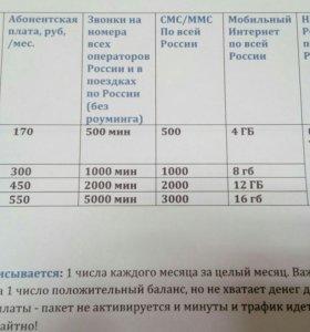 Тарифы корпаратив( действует по россии)