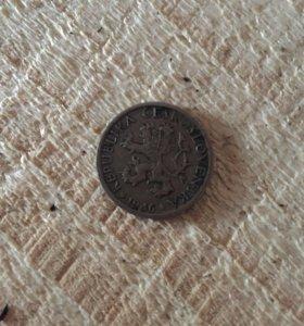 Монета Чехословатская республика 1946г.