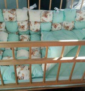 Бортики и одеяло для детской кроватки