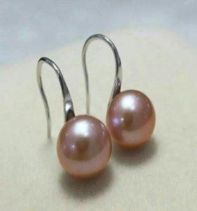 Серебряные сережки с розовым жемчугом
