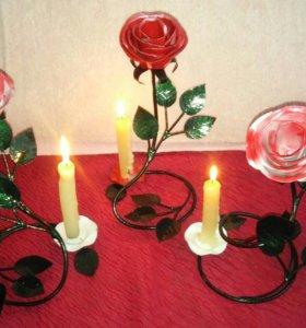 Подсвечники роза