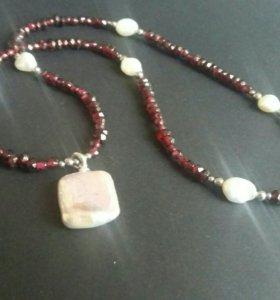 Ожерелье из граната с жемчугом серьги в подарок