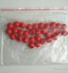 Бусинки красные, можно для кос