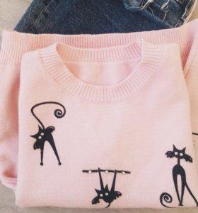 Тёплый нежно розовый свитер