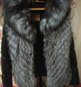 Куртка кожаная с мехом рукава отстегиваютя