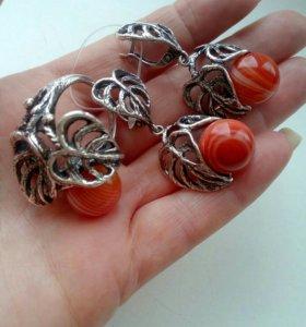 Сердолик - серьги,кольцо