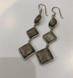 Серебряные серьги 8 г камень натуральный