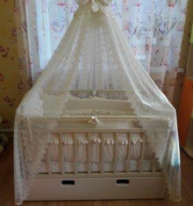 Детская музыкальная кровать качалка на пульте