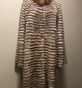 Меховое пальто комбинированное 58-60 размер