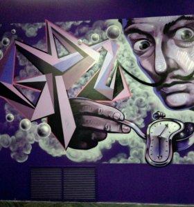 Художественная роспись стен и фасадов, кафе и тд