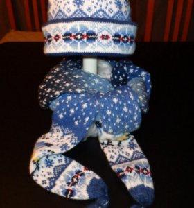 Зимняя шапка-чехол с шарфом