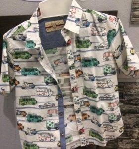 Рубашка для мальчика. Принт веселенький, машинки.