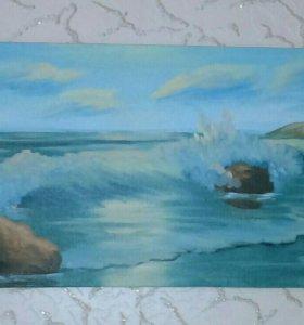 Пейзаж Море. 50х30 Картина маслом на холсте
