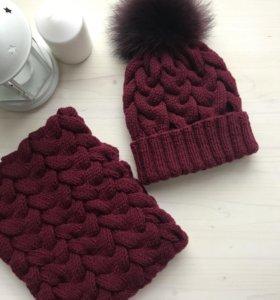 Вязанный комплект ( шапка, шарф)