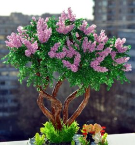 Дерево из бисера. Сирень. Сувенир. Подарок