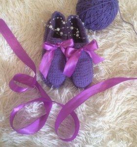 Пинетки взрослые,в чёрном и фиолетовом цвете