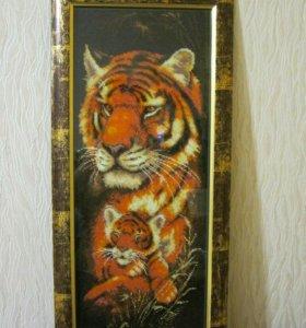"""Картина из бисера """"Тигрица"""""""