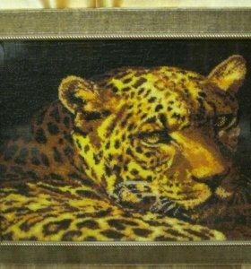 """Картина из бисера """"Леопард"""""""