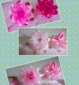 Резиночки бантики цветочки