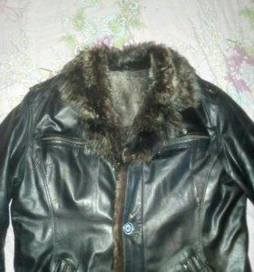 Мужская кожная куртка на меху