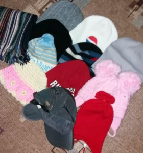 Шапки, шарф,теплая кепка.