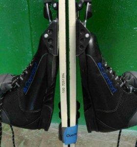 Лыжи 130 см, палки 2 пары