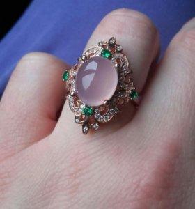 серебряное кольцо розовый халцедон
