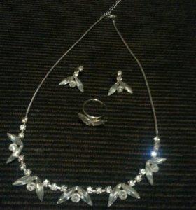 Комплект(колье,серьги,кольцо)женские украшения