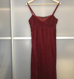 Бархатное платье винного цвета Zara