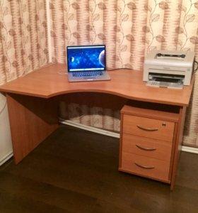 Стол письменный компьютерный офисный с тумбой