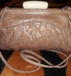 Красивая кожаная сумка принт рептилии Oasis Винтаж