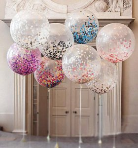 Восхитительный гелиевый шар с конфетти.