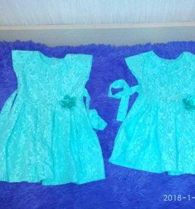 Платья для девочек сестричек.