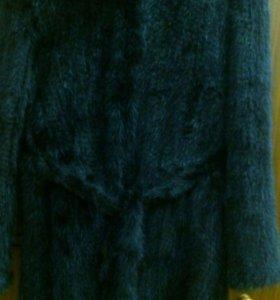 Пальто вязаное из меха норки