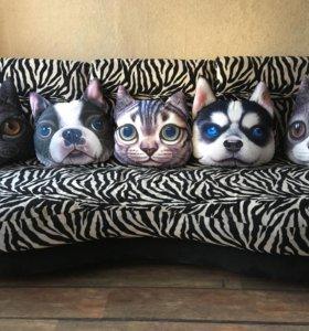 Новые подушки в форме мордочек домашних животных