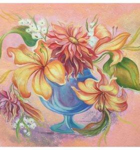 Натюрморт с цветами 18х21