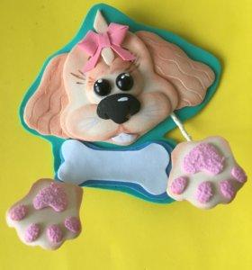 Собака спаниель - магнит из фоамирана.