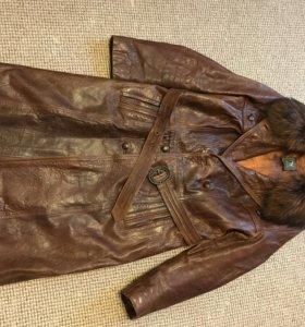 Пальто из натуральной кожи, размер XL