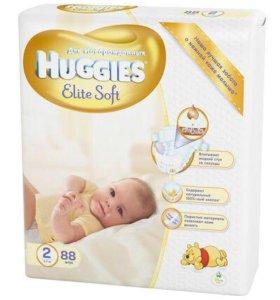 Подгузники Huggies Elite Soft 2 (3-6 кг) 88 шт.