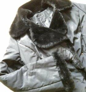 Чёрное длинное пальто / Удлиненный пуховик